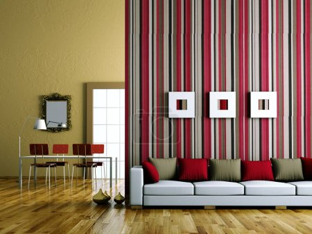 Photo for Interior design modern bright room with sofa 3d Illustration - Royalty Free Image
