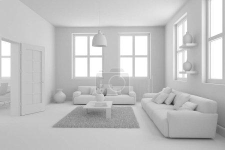 Photo pour Modèle de design d'intérieur moderne salon 3d Illustration - image libre de droit