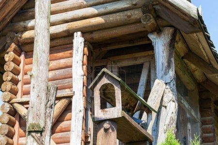 Photo pour Petits pigeons pigeons hauts pigeons, en bois. Photo gros plan d'une construction en bois sans oiseaux - image libre de droit