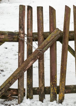 Photo for An old ruined wooden fence in the countryside - Royalty Free Image