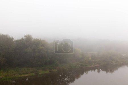 Photo pour Photo rapprochée d'une rivière et d'arbres pendant un brouillard. mauvaise visibilité - image libre de droit