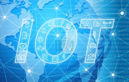 Photo for IOT Internet of Things Background with various icons - Royalty Free Image