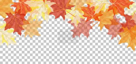 Illustration for Falling maple leaves with transparency grid on back. Vector Illustration. - Royalty Free Image