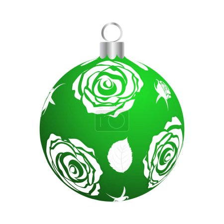 Illustration for Christmas (New Year) Ball. Green With Silver Design. Vector Illustration. - Royalty Free Image