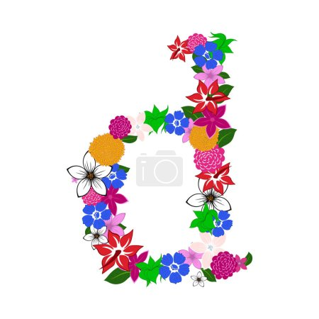 Illustration for Floral Alphabet Letter. Colorfull on White Design. Vector illustration. - Royalty Free Image