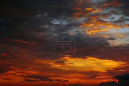 Photo for Picturesque cloudy sky. Multicolored sky orange blue grey colors. Sunrise in south of Spain - Royalty Free Image