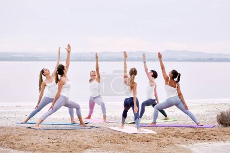 Photo for Full-length group of yogi women wearing activewear practising yoga outdoors standing on mats performing Warrior pose doing Virabhadrasana exercise on nature near lake, healthy lifestyle hobby concept - Royalty Free Image