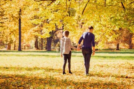 Photo pour Jeune beau couple marchant dans le parc automne - image libre de droit