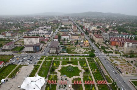 Flower Park with the symbol of the six-pointed star of David and views of the city of Grozny, Chechnya, Russia. Aerial view from the observation deck of the complex Grozny City
