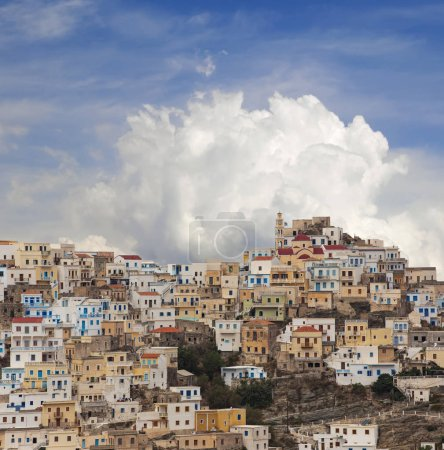 Panoramic view of Olympos in Karpathos island, Dodecanese Greece