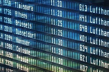 Flights information departures board in airport terminal.