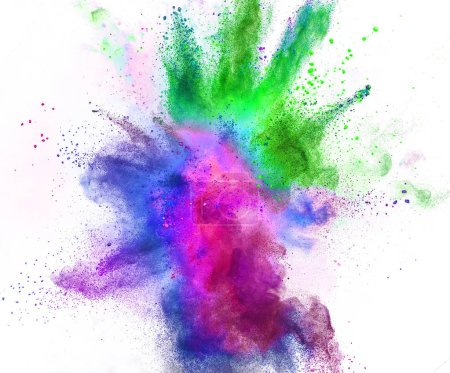 Photo for Colored powder explosion isolated on white background. Freeze motion. - Royalty Free Image