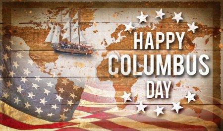 Happy Columbus day banner, american patriotic background