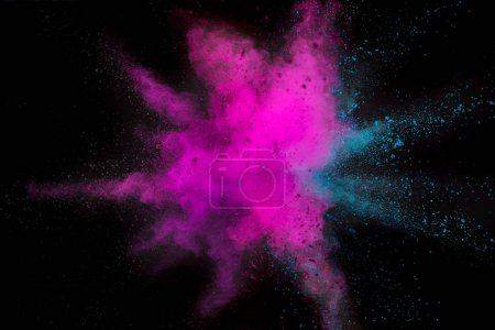 Colored powder explosion on black background.