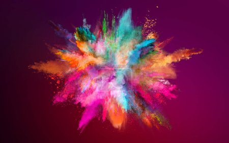 Photo for Colored powder explosion on dark gradient background. Freeze motion. - Royalty Free Image