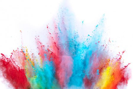 Photo for Colored powder explosion on white background. Freeze motion. - Royalty Free Image