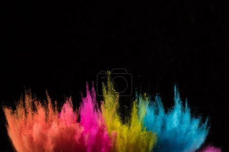 Photo for Colored powder explosion on black background. Freeze motion. - Royalty Free Image