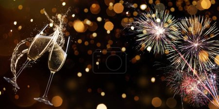 Photo for Colorful firework with bokeh background. New Year celebration, Abstract holiday background - Royalty Free Image