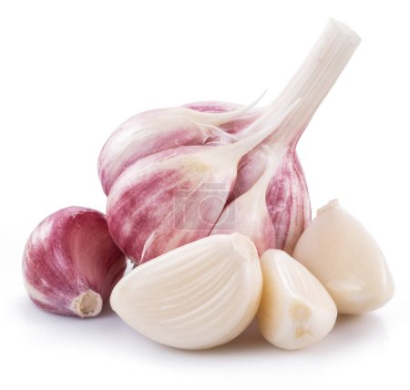 Photo for Garlic bulb and garlic cloves isolated on white background. - Royalty Free Image