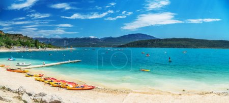 Photo for Canoes on the beach of lake Sainte-Croix-du-Verdon. France. 2017.07.30. - Royalty Free Image