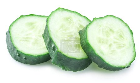 Photo for Cucumber slices on the white background. - Royalty Free Image