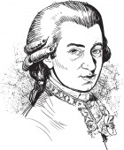 Wolfgang Amadeus Mozart portrait Famous classic musician illustration in comic style