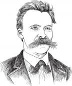 Friedrich Nietzsche (1844-1900) portrait in line art illustration He was German philosopher philologist poet composer and classical scholar