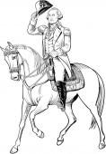 George Washington line art illustration on horseback