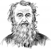 Diogenes of Sinope portrait in line art illustration He was ancient Greek philosopher one of the founders of the Cynic philosophy