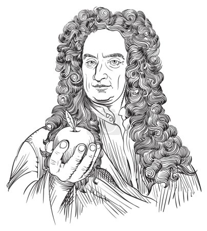 Illustration for Isaac Newton (1643-1727) portrait in line art illustration. He was an astronomer, scientist, philosopher, mathematician and physicist who developed the principles of modern physics. - Royalty Free Image