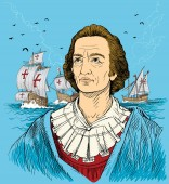 Christopher Columbus colored portrait in line art illustration