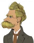 Nietzsche Cartoon drawing vector