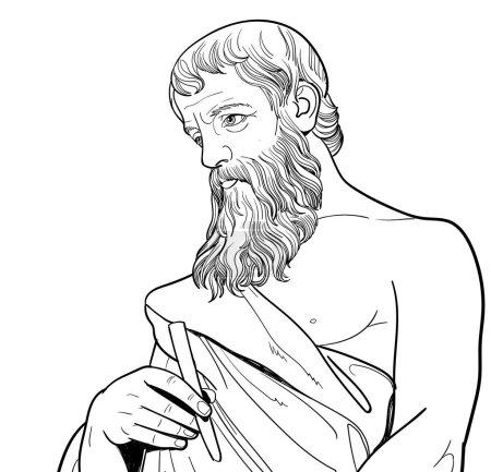 Illustration pour Portrait d'art de la ligne euclidienne. Il était un mathématicien grec qui a écrit le premier manuel systématique sur la géométrie, célèbre comme le Père de la géométrie. Vecteur - image libre de droit