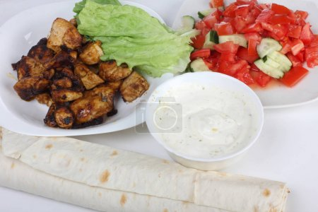 Photo for Products and ingredients for shawarma and cookware - Royalty Free Image