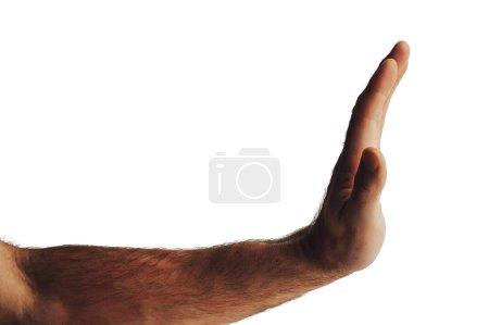 Photo pour Recadrée coup de main montrant le geste d'arrêt isolé sur blanc - image libre de droit