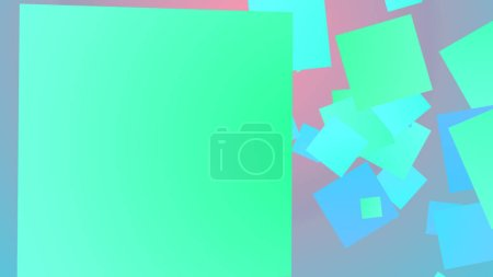 An exciting 3d rendering of whirling big and small squares of celeste and blue colors entertaining optimistically in the light violet background. They look cheery
