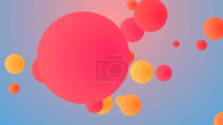 A joyful 3d illustration of whirling big and small balls of pink, red, orange colors entertaining happily in light rosy and blue background. They look funny and childish