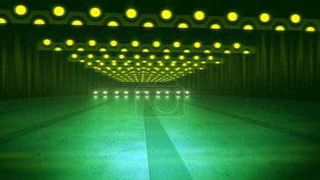 An impressive 3d rendering of yellow neon spotty lamps of an underground subway in the dark green background. The horizontal stripes of round spots shine in a bright way