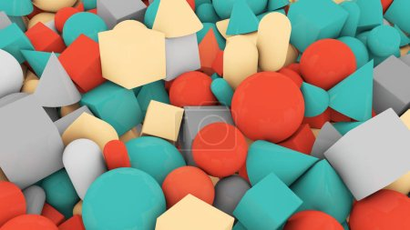 A childish 3d illustration of casual shape background from big and small red and blue balls, cubes, sticks, cones, pyramids, covering the whole background in a jolly way.