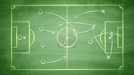 A smart 3d illustration of a football field covered with zeroes and arrows. It shows how the team should give passes to score a goal and to win the rival players. It looks winning