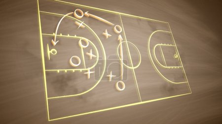 A striking 3d illustration of a basketball field placed askew and covered with crosses, zeroes and arrows. It shows how the team should play together to outwit the opponent players.