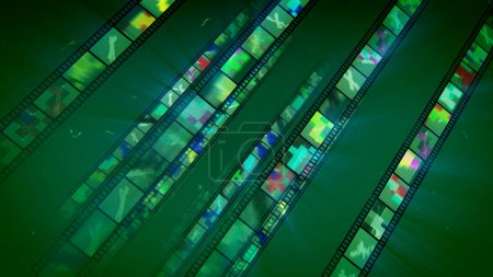 A gorgeous 3d illustration of put aslant straight film tapes having bright forms and multicolored shadows. They show different creatures and smudges in the green backdrop and look fine.
