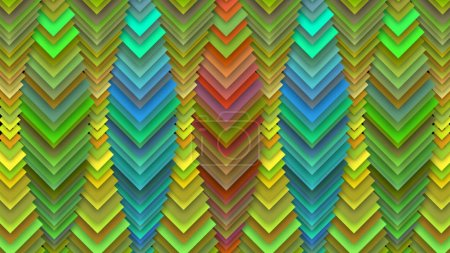 A cheerful 3d illustration of abstract multicolored drop decor with aimed down squares with spots in centers shaping long cubic tubes resembling a toy show curtain for children.