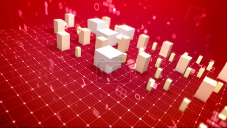 A stunning 3d illustration of a business bar chart and computer signs including angle bracket, number, dollar and percent drawn askew in the red background. The revenue columns are skyrocketing.