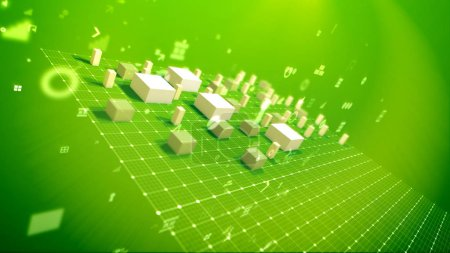 A cheerful 3d illustration of a bar chart with shooting up cubic columns meaning revenue in the green backdrop placed diagonally with flying dots, key holes, angles and other computer signs.