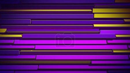 Foto de Un emocionante ilustración 3d de persianas horizontales de colores hechos de finas rayas rectas y cambiar gradualmente los colores. Varía de amarillo a azul y violeta. Las persianas lucen alegres. - Imagen libre de derechos