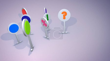A gorgeous 3d illustration of colorful smileys resembling big round symbols on narrow stands denoting exclamation and question marks, number and percent playing happily in the grey background.