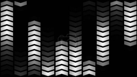 An optimistic 3d illustration of led panel lights from showy angle quotes placed in lines and forming ten vertical ways. Five of them move up in the black background. They look cheery and arty.