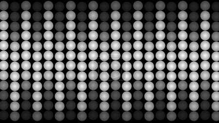 A jolly 3d illustration of led panel lights from billiard balls placed in rows and shaping twenty vertical ways. Some of them are dark, some of them are white. They look active and cheery.