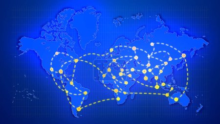 A showy 3d illustration of an abstract world map linking big yellow cities, marked with sparkling rounds, with moving white lines placed on rectangular grid in the dark blue background.